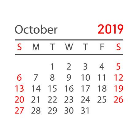 Calendar october 2019 year in simple style. Calendar planner design template. Agenda october monthly reminder. Business vector illustration. Illustration