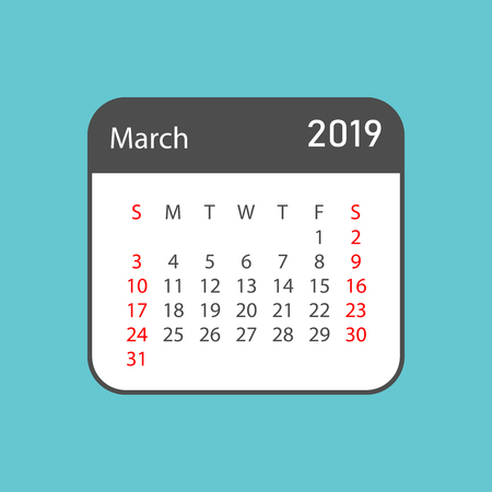 Calendar march 2019 year in simple style. Calendar planner design template. Agenda march monthly reminder. Business vector illustration.