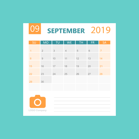 Calendar september 2019 year in simple style. Calendar planner design template. Agenda monthly september template with company logo. Business vector illustration. Illustration