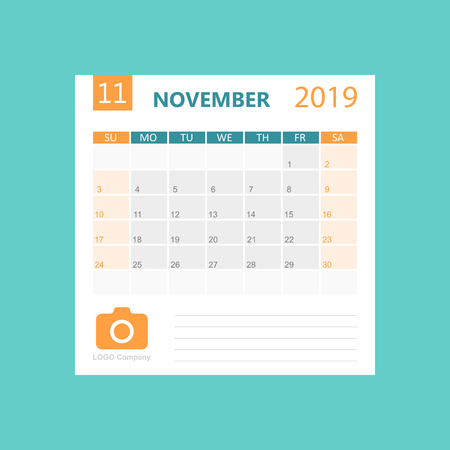 Calendar november 2019 year in simple style. Calendar planner design template. Agenda monthly november template with company logo. Business vector illustration.