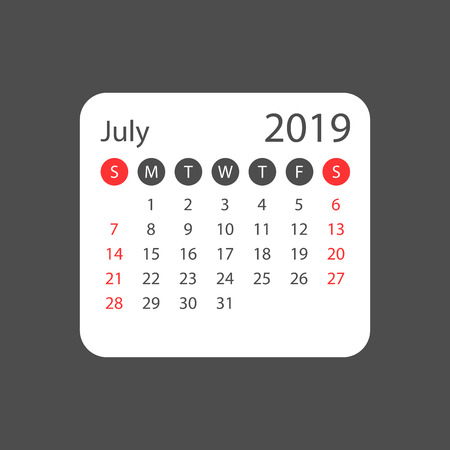 Calendar july 2019 year in simple style. Calendar planner design template. Agenda july monthly reminder. Business vector illustration.