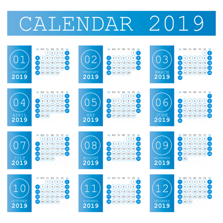 Calendar 2019 year in simple style. Calendar planner design template. Agenda monthly template. Business vector illustration. Vectores
