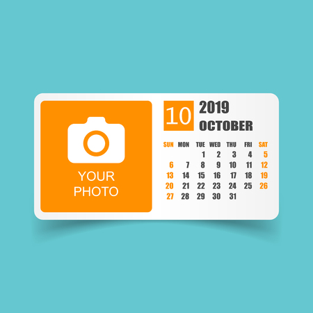 Calendar october 2019 year in simple style. Calendar planner design template. Agenda october monthly reminder with photo. Business vector illustration.