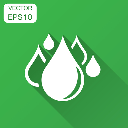 Water drop icon in flat style. Raindrop vector illustration with long shadow. Droplet water blob business concept. Ilustração