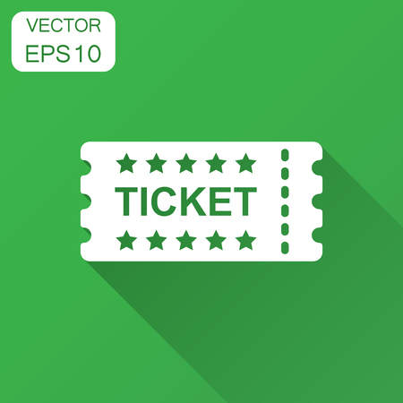 Cinema ticket icon in flat style. Admit one coupon entrance vector illustration with long shadow. Ticket business concept.