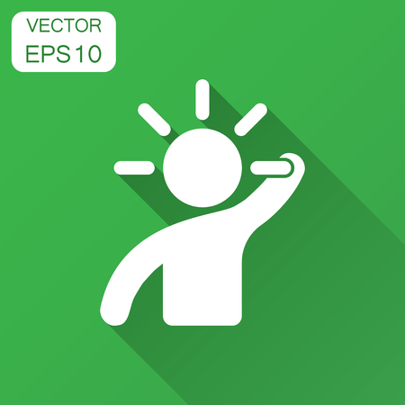 Mind people icon in flat style. Human frustration vector illustration with long shadow. Mind thinking business concept. 矢量图像