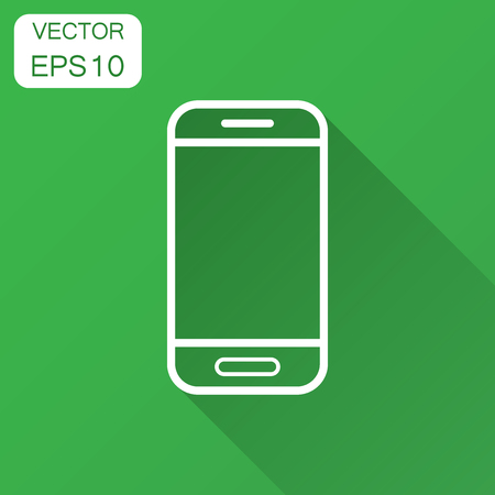 Smartphone icon in flat style. Phone handset vector illustration with long shadow. Smartphone business concept. Illustration