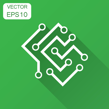 Circuit board icon in flat style. Technology microchip vector illustration with long shadow. Processor motherboard business concept.