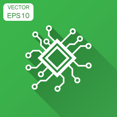Circuit board icon in flat style. Technology microchip vector illustration with long shadow. Processor motherboard business concept. Çizim