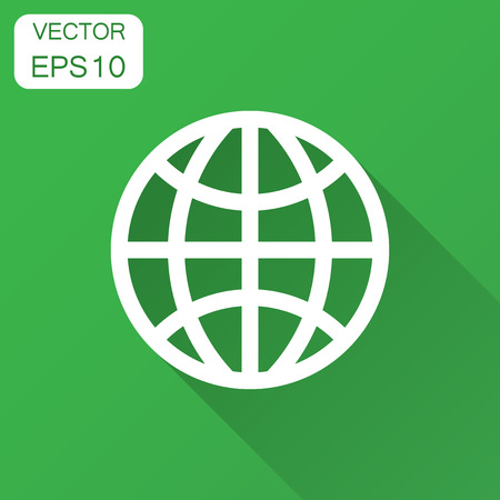 Earth planet icon in flat style. Globe geographic vector illustration with long shadow. Global communication business concept.  イラスト・ベクター素材