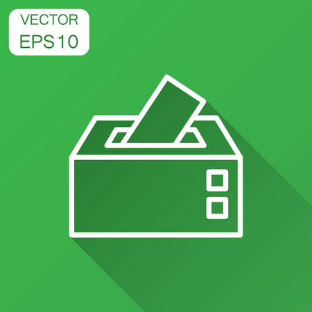 Election voter box icon in flat style. Ballot suggestion vector illustration with long shadow. Election vote business concept. Illustration