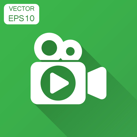 Video camera icon in flat style. Movie play vector illustration with long shadow. Video streaming business concept.