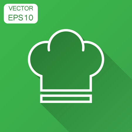 Chef hat icon in flat style. Cooker cap vector illustration with long shadow. Chef restaurant business concept.