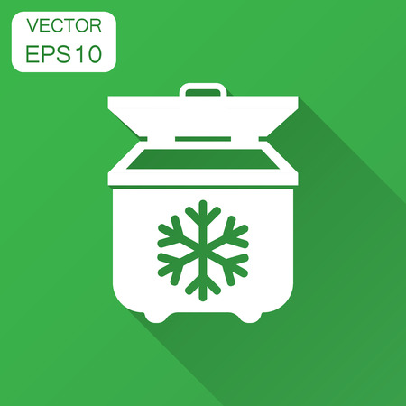 Portable fridge refrigerator icon in flat style. Freezer bag container vector illustration with long shadow. Fridge business concept.