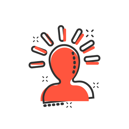 Mind people icon in comic style. Human frustration vector cartoon illustration pictogram. Mind thinking business concept splash effect. 矢量图像