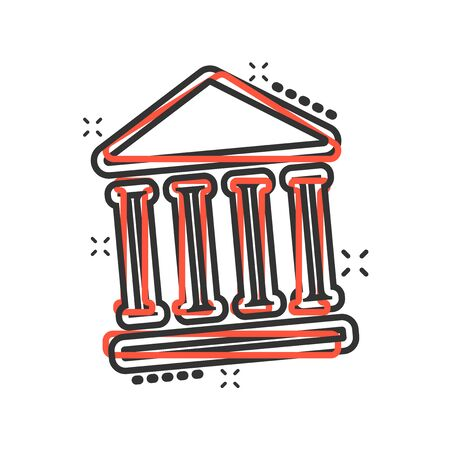 Bank building icon in comic style. Government architecture vector cartoon illustration pictogram. Museum exterior business concept splash effect.  イラスト・ベクター素材