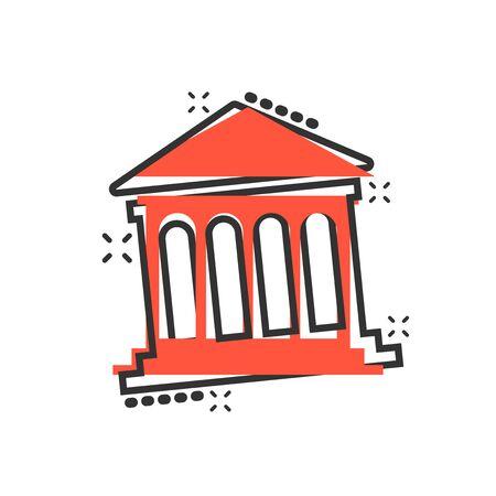 Bank building icon in comic style. Government architecture vector cartoon illustration pictogram. Museum exterior business concept splash effect. Ilustração
