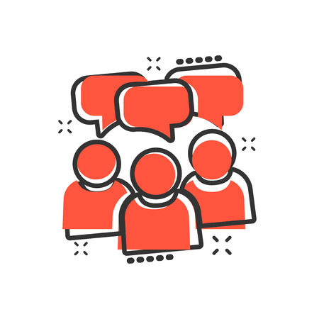 People with speech bubble icon in comic style. Business agreement vector cartoon illustration pictogram. Partnership talk business concept splash effect.
