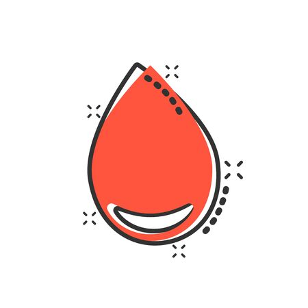 Water drop icon in comic style. Raindrop vector cartoon illustration pictogram. Droplet water blob business concept splash effect.