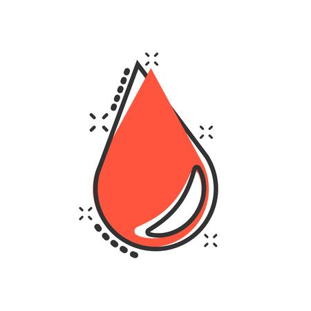 Icona della goccia d'acqua in stile fumetto. Pittogramma dell'illustrazione del fumetto di vettore di goccia di pioggia. Effetto splash goccia d'acqua blob business concetto.