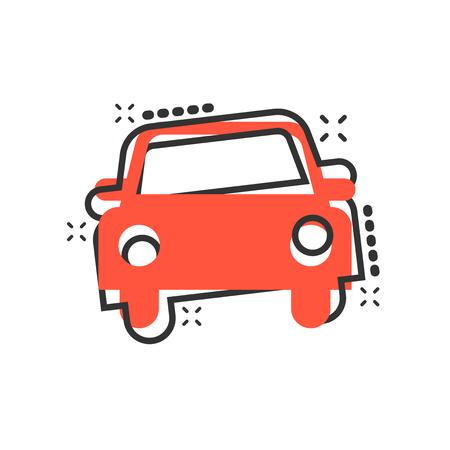 Car icon in comic style. Automobile car vector cartoon illustration pictogram. Auto business concept splash effect. Illustration
