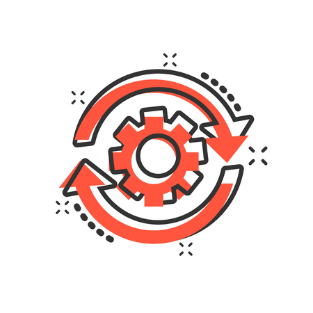 Workflow process icon in comic style. Gear cog wheel with arrows vector cartoon illustration pictogram. Workflow business concept splash effect. Illustration