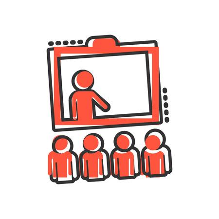 Ausbildungssymbol im Comic-Stil. Leuteseminarvektorkarikaturillustrationspiktogramm. Schulklassenunterricht Geschäftskonzept Splash-Effekt.