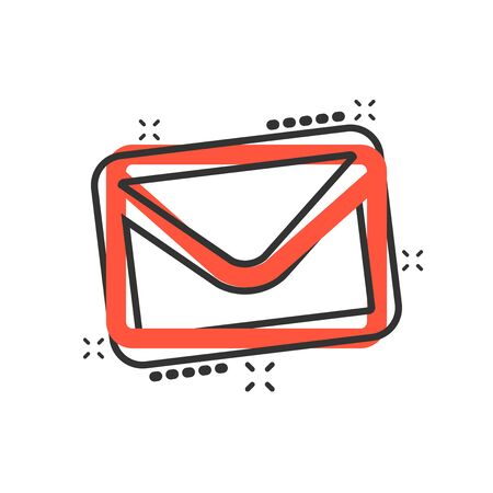 Mail envelope icon in comic style. Receive email letter spam vector cartoon illustration pictogram. Mail communication business concept splash effect. Иллюстрация