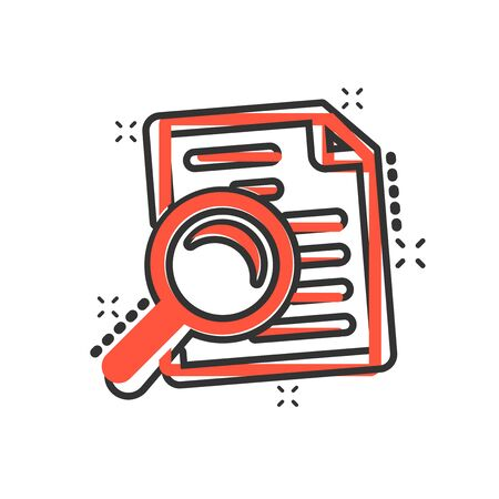 Scrutiny document plan icon in comic style. Review statement vector cartoon illustration pictogram. Document with magnifier loupe business concept splash effect.  イラスト・ベクター素材
