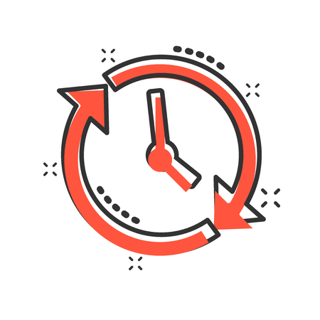 Clock countdown icon in comic style. Time chronometer vector cartoon illustration pictogram. Clock business concept splash effect.
