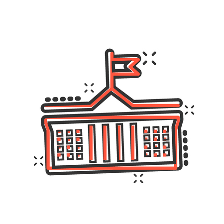 Bank building icon in comic style. Government architecture vector cartoon illustration pictogram. Museum exterior business concept splash effect. Çizim