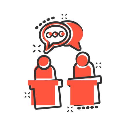 Politic debate icon in comic style. Presidential debates vector cartoon illustration pictogram. Businessman discussion business concept splash effect. Vector Illustration