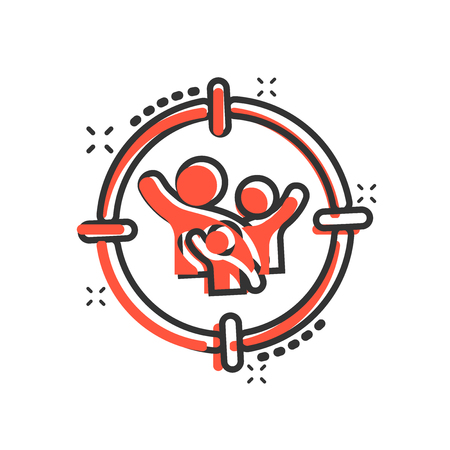 Target audience icon in comic style. Focus on people vector cartoon illustration pictogram. Human resources business concept splash effect.