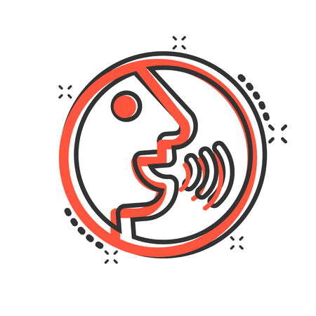 Voice command with sound waves icon in comic style. Speak control vector cartoon illustration pictogram. Speaker people business concept splash effect.