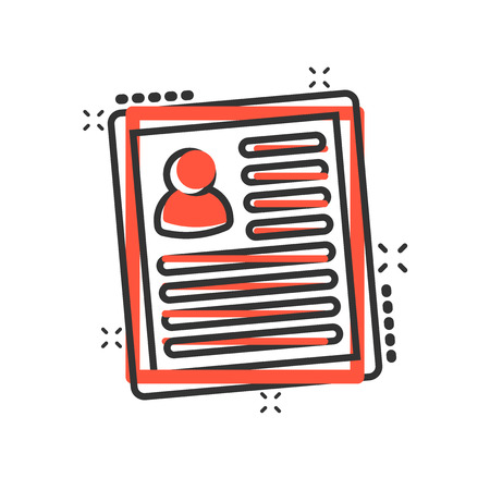 Resume icon in comic style. Contract document vector cartoon illustration pictogram. Resume business concept splash effect.