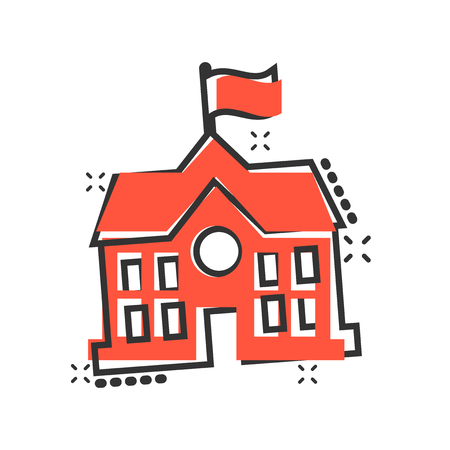 School building icon in comic style. College education vector cartoon illustration pictogram. Bank, government business concept splash effect.