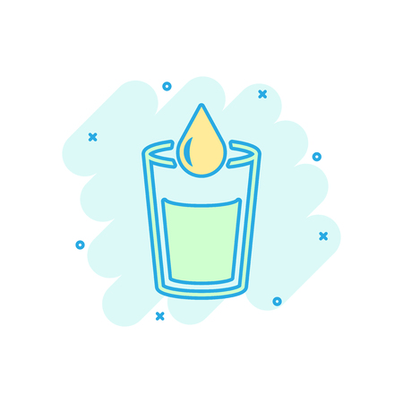 Water glass icon in comic style. Soda glass vector cartoon illustration pictogram. Droplet water blob business concept splash effect.