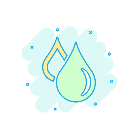 Water drop icon in comic style. Raindrop vector cartoon illustration pictogram. Droplet water blob business concept splash effect.