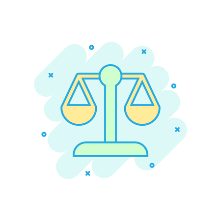 Scale comparison icon in comic style. Balance weight vector cartoon illustration pictogram. Scale compare business concept splash effect.