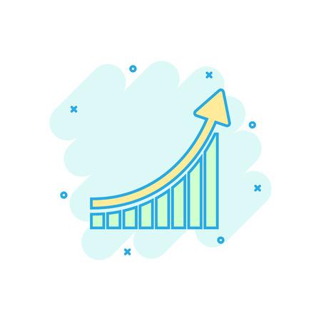 Growing bar graph icon in comic style. Increase arrow vector cartoon illustration pictogram. Infographic progress business concept splash effect. 向量圖像