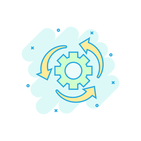 Workflow process icon in comic style. Gear cog wheel with arrows vector cartoon illustration pictogram. Workflow business concept splash effect. Stockfoto - 114763549