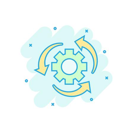 Workflow process icon in comic style. Gear cog wheel with arrows vector cartoon illustration pictogram. Workflow business concept splash effect. Stock Illustratie