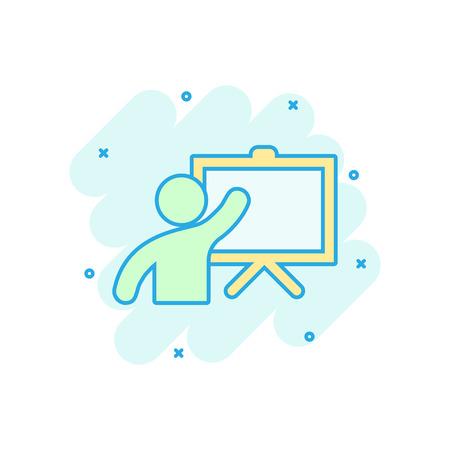 Training education icon in comic style. People seminar vector cartoon illustration pictogram. School classroom lesson business concept splash effect. Illustration