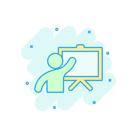Training education icon in comic style. People seminar vector cartoon illustration pictogram. School classroom lesson business concept splash effect. Ilustração