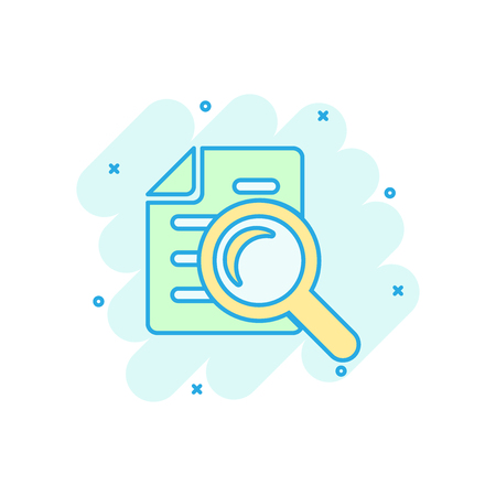 Scrutiny document plan icon in comic style. Review statement vector cartoon illustration pictogram. Document with magnifier loupe business concept splash effect. Illustration