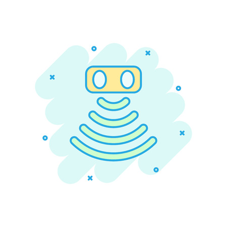 Motion sensor icon in comic style. Sensor waves vector cartoon illustration pictogram. Security connection business concept splash effect.