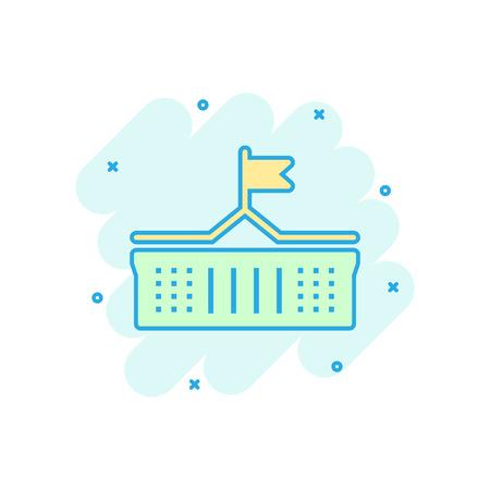 Bankgebäude-Symbol im Comic-Stil. Regierungsarchitektur-Vektor-Cartoon-Illustration-Piktogramm. Museumsäußeres Geschäftskonzept Splash-Effekt.