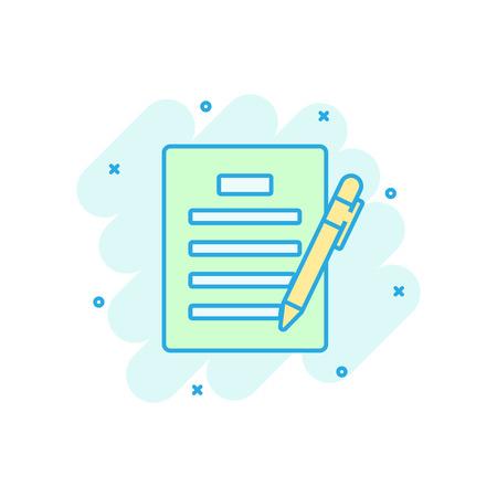 Contract agreement icon in comic style. Document sheet with pen vector cartoon illustration pictogram. Contract arrangement business concept splash effect. Ilustração