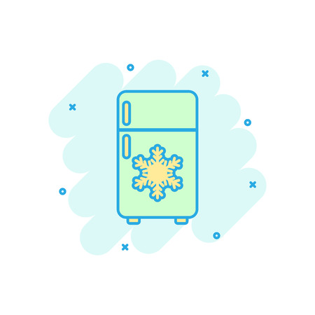 Fridge refrigerator icon in comic style. Freezer container vector cartoon illustration pictogram. Fridge business concept splash effect.