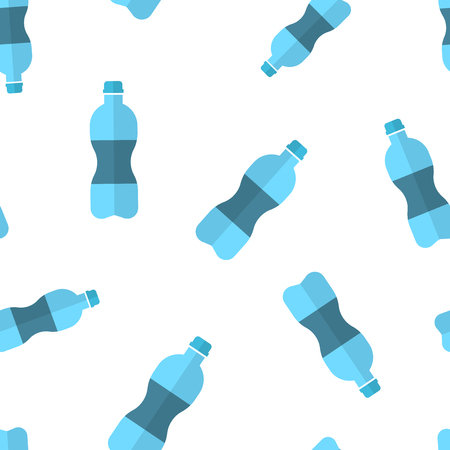 Water bottle icon seamless pattern background. Plastic soda bottle vector illustration. Liquid water symbol pattern.